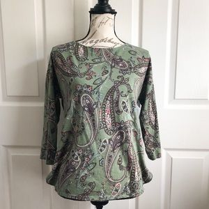 Chico's Cotton Blend Paisley 3/4 Sleeve Top 0 S